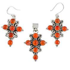 Natural orange carnelian round 925 silver cross pendant earrings set k35601