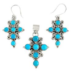 Natural blue magnesite 925 sterling silver cross pendant earrings set k35604