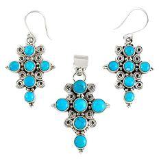 Natural blue magnesite 925 sterling silver cross pendant earrings set k35605