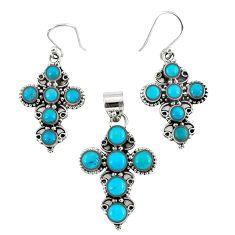 Natural blue magnesite 925 sterling silver cross pendant earrings set k35630