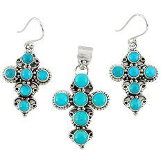 Natural blue magnesite 925 sterling silver cross pendant earrings set k35632