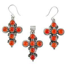 Natural orange carnelian 925 silver cross pendant earrings set k35636