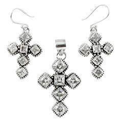 Natural white topaz round 925 sterling silver cross pendant earrings set k35651