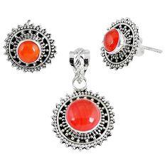 Natural orange carnelian 925 sterling silver pendant earrings set jewelry k36241