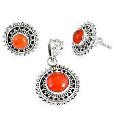 Natural orange carnelian 925 sterling silver pendant earrings set jewelry k36242