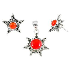 Natural orange carnelian 925 sterling silver pendant earrings set jewelry k36265