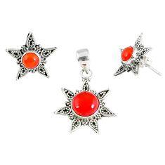 Natural orange carnelian 925 sterling silver pendant earrings set jewelry k36266