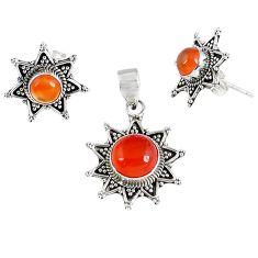 Natural orange carnelian 925 sterling silver pendant earrings set k36289