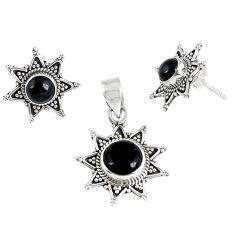 Natural black onyx 925 sterling silver pendant earrings set jewelry k36294