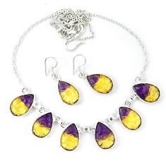 Multi color ametrine (lab) carved pear 925 silver necklace earrings set k49781
