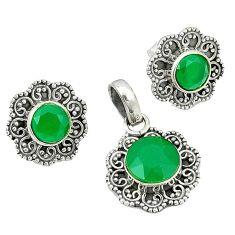 Natural green chalcedony 925 sterling silver pendant earrings set k57041