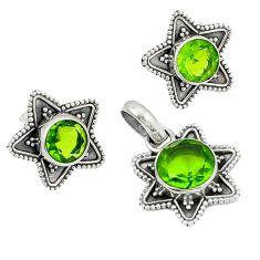 Green peridot quartz 925 sterling silver pendant earrings set jewelry k57047
