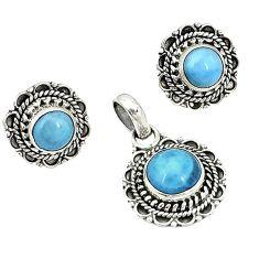 Natural blue owyhee opal 925 silver pendant earrings set k57050