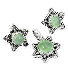 Natural green prehnite 925 sterling silver pendant earrings set k57052