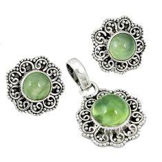 925 sterling silver natural green prehnite pendant earrings set k57053