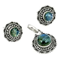 Natural black onyx 925 sterling silver pendant earrings set k57055