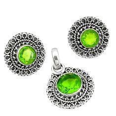 Green peridot quartz 925 sterling silver pendant earrings set k57056