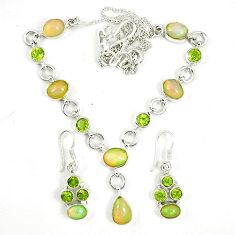 Natural multi color ethiopian opal 925 silver earrings necklace set k75498