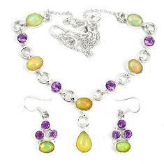 925 silver natural multi color ethiopian opal earrings necklace set k75499