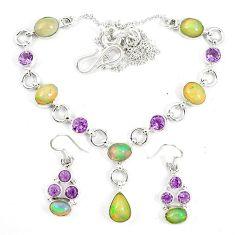 Natural multi color ethiopian opal 925 silver earrings necklace set k75500