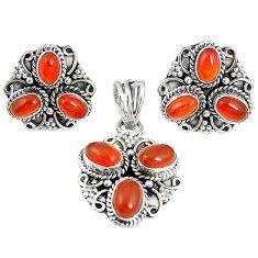 Natural honey onyx 925 sterling silver pendant earrings set m17514