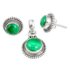 Natural green malachite (pilot's stone) 925 silver pendant earrings set m17570