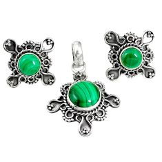 Natural green malachite (pilot's stone) 925 silver pendant earrings set m17584