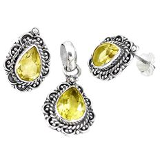 Natural lemon topaz 925 sterling silver pendant earrings set jewelry m17605
