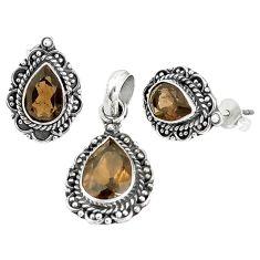 Brown smoky topaz 925 sterling silver pendant earrings set jewelry m17607