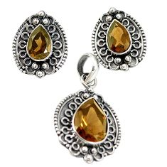 Brown smoky topaz 925 sterling silver pendant earrings set jewelry m19641