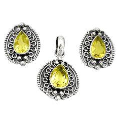 Natural lemon topaz 925 sterling silver pendant earrings set jewelry m19642