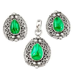 Natural green malachite (pilot's stone) 925 silver pendant earrings set m19652