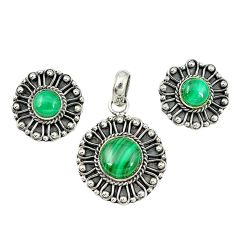 Natural green malachite (pilot's stone) 925 silver pendant earrings set m19670