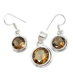 Brown smoky topaz 925 sterling silver pendant earrings set jewelry m19676