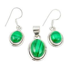 Natural green malachite (pilot's stone) 925 silver pendant earrings set m19687