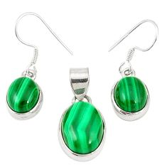 Natural green malachite (pilot's stone) 925 silver pendant earrings set m19692