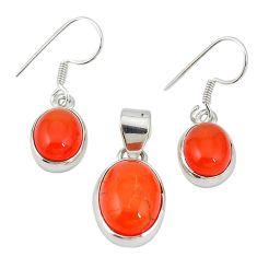 Natural orange cornelian (carnelian) 925 silver pendant earrings set m19695