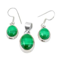 Natural green malachite (pilot's stone) 925 silver pendant earrings set m19698