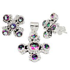 Multi color rainbow topaz 925 silver pendant earrings set jewelry m24299