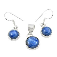 Natural blue kyanite 925 sterling silver pendant earrings set jewelry m25441