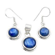 Natural blue kyanite 925 sterling silver pendant earrings set jewelry m25442