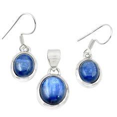 Natural blue kyanite 925 sterling silver pendant earrings set jewelry m25443