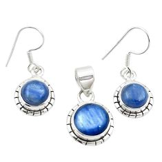 Natural blue kyanite 925 sterling silver pendant earrings set jewelry m25445