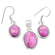 925 silver natural phosphosiderite (hope stone) pendant earrings set m25455