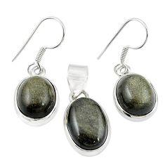 Natural golden sheen black obsidian 925 silver pendant earrings set m25458