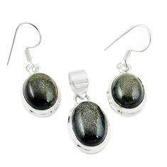 925 silver natural golden sheen black obsidian pendant earrings set m25460