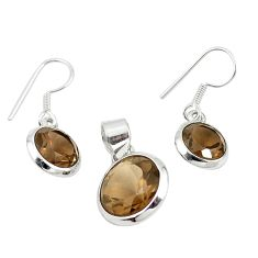 Brown smoky topaz 925 sterling silver pendant earrings set jewelry m25461