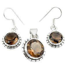 Brown smoky topaz 925 sterling silver pendant earrings set jewelry m25462