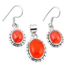 Natural orange cornelian (carnelian) 925 silver pendant earrings set m25467