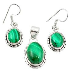 Natural green malachite (pilot's stone) 925 silver pendant earrings set m25468